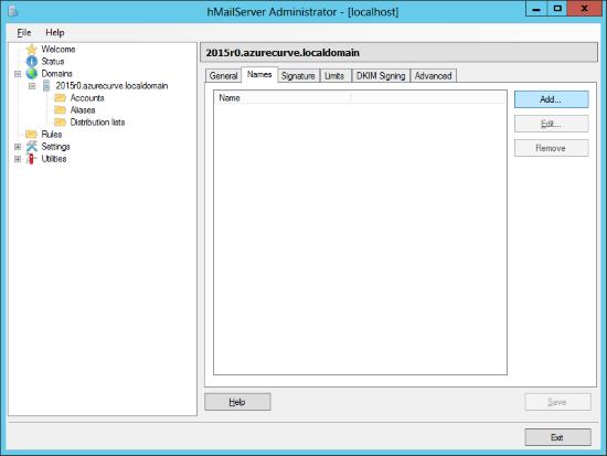 hMailServer Administrator: Domains - Names