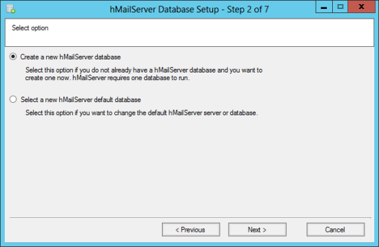 hMailServer Database Setup - Step 2 of 7: Select option