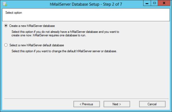 hMailServer Database Setup - Step 2 of 7: Select option