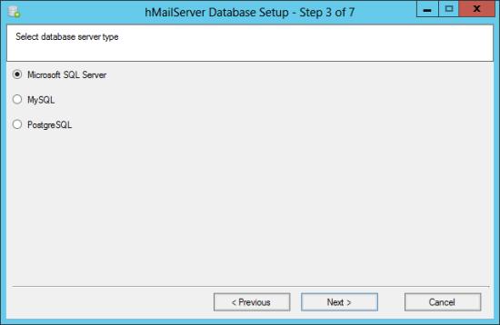 hMailServer Database Setup - Step 3 of 7: Select database server Owner