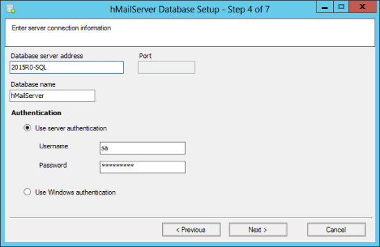 hMailServer Database Setup - Step 4 of 7: Enter sever connection information