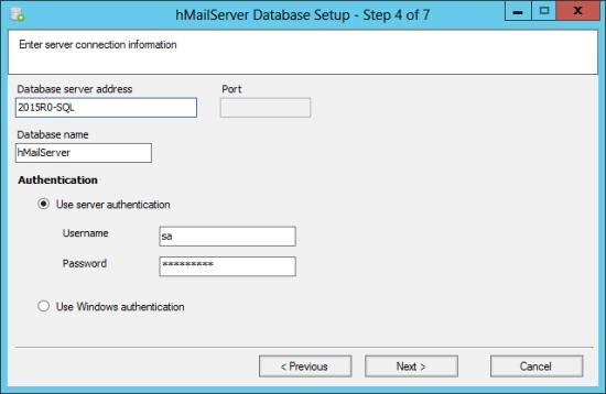 hMailServer Database Setup - Step 4 of 7: Enter sever connection information