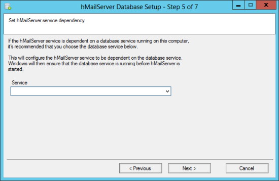hMailServer Database Setup - Step 5 of 7: Set hMailServer service dependency