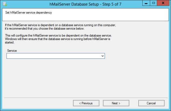 hMailServer Database Setup - Step 5 of 7: Set hMailServer service dependency