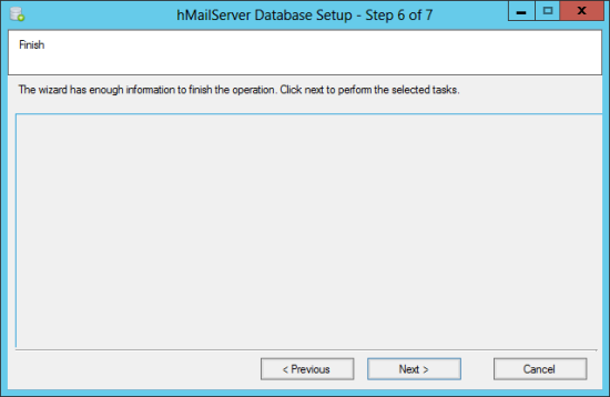 hMailServer Database Setup - Step 6 of 7: Finish