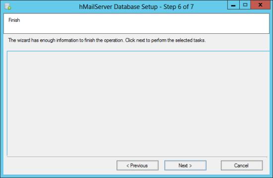 hMailServer Database Setup - Step 6 of 7: Finish