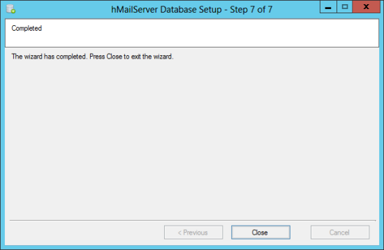 hMailServer Database Setup - Step 7 of 7: Completed