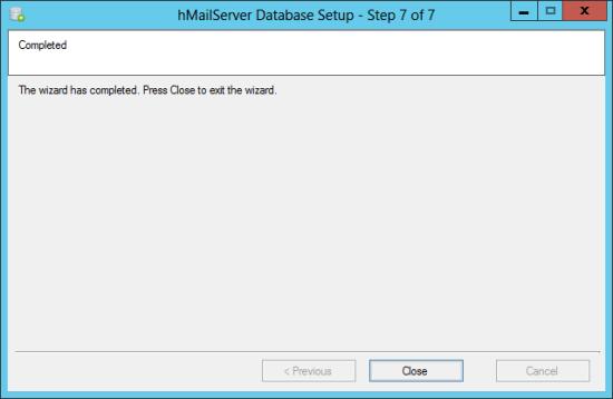 hMailServer Database Setup - Step 7 of 7: Completed