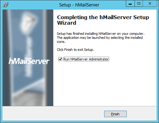 Setup - hMailServer Database Setup: Completing the hMailServer Setup Wizard