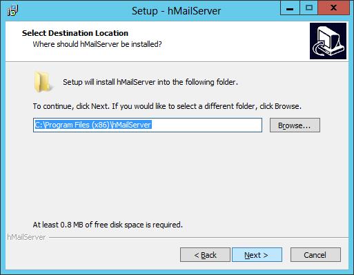 Setup - hMailServer: Select Destination Location