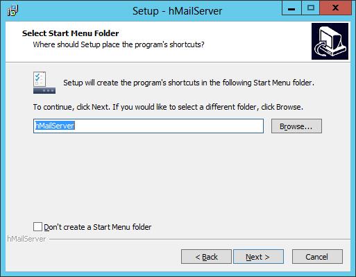 Setup - hMailServer: Select Start Menu Folder