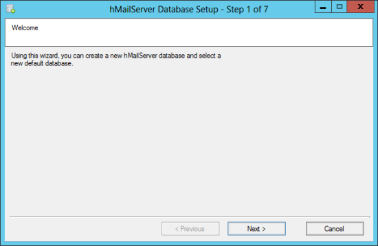 hMailServer Database Setup - Step 1 of 7: Welcome