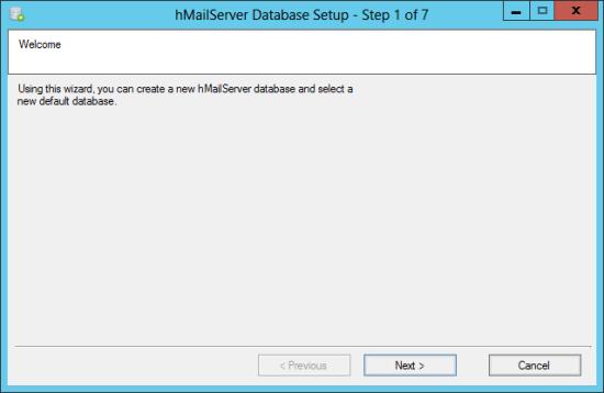 hMailServer Database Setup - Step 1 of 7: Welcome