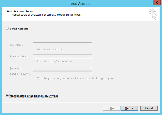 Add Account - Auto Account Setup