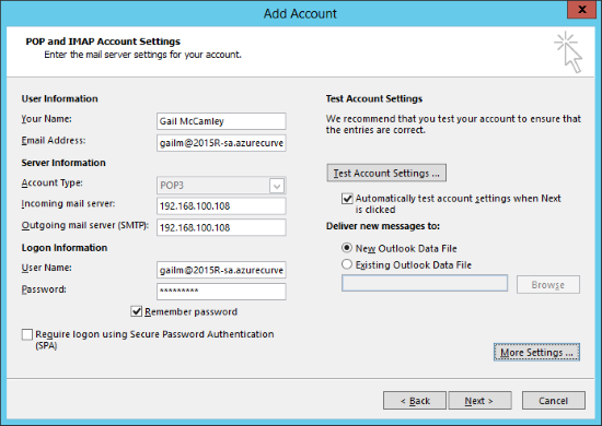 Add Account - POP and IMAP Account Settings
