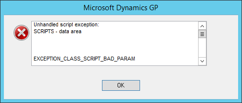 Microsoft Dynamics GP: Unhandled script exception