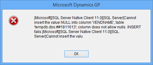Cannot insert the value NULL into column 'VENDNAME'