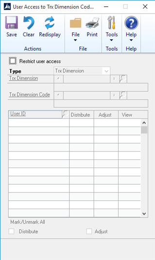 Analytical Accounting User Access Settings