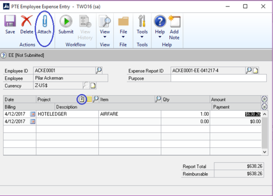 Project Accounting Document Attach