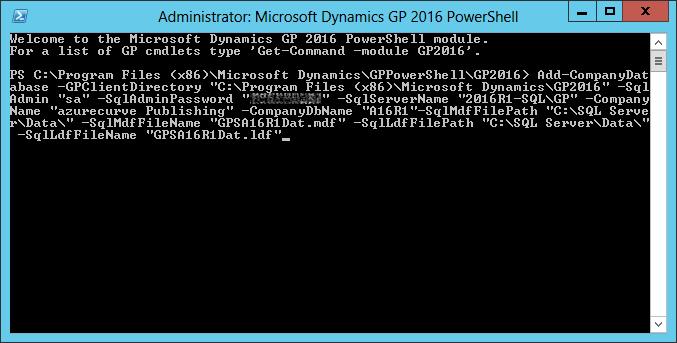 Administrator: Microsoft Dynamics GP 2016 PowerShell