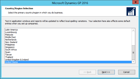 Microsoft Dynamics GP 2016: Country/Region Selection