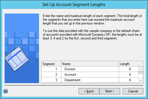 Set Up Account Segment Lenghts