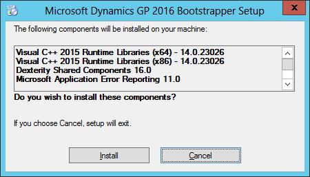 Microsoft Dynamics GP 2016 Bootstrapper Setup