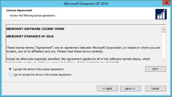 Microsoft Dynamics GP 2016: License Agreement