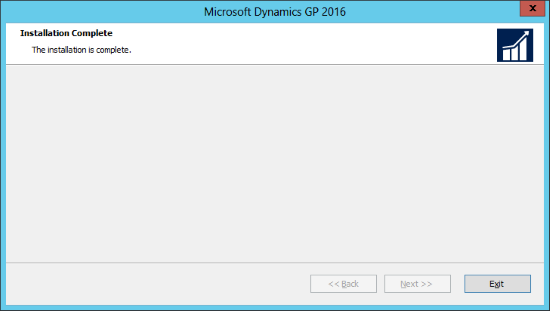 Microsoft Dynamics GP 2016: Installation Complete