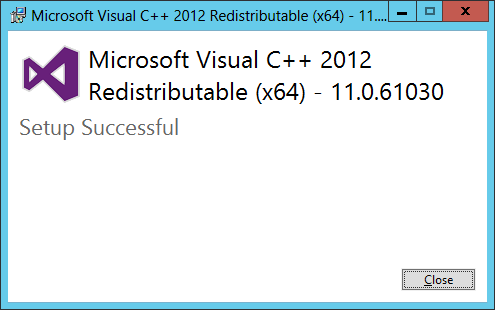 Microsoft Visual C++ 2012 Redistributable (x64): Setup Successful
