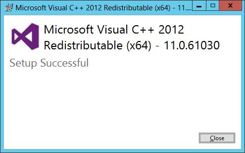 Microsoft Visual C++ 2012 Redistributable (x64): Setup Successful