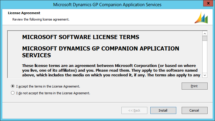 Microsoft Dynamics GP Companion Application Services: License Agreement