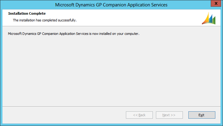 Microsoft Dynamics GP Companion Application Services: Installation Complete