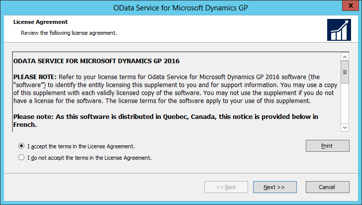 OData Service for Microsoft Dynamics GP: License Agreement