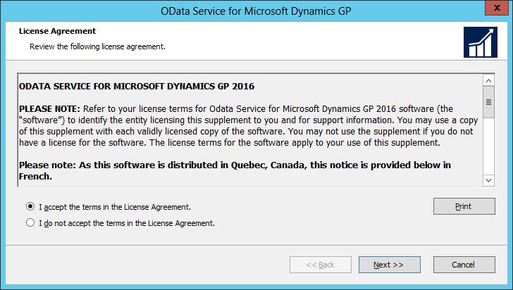 OData Service for Microsoft Dynamics GP: License Agreement