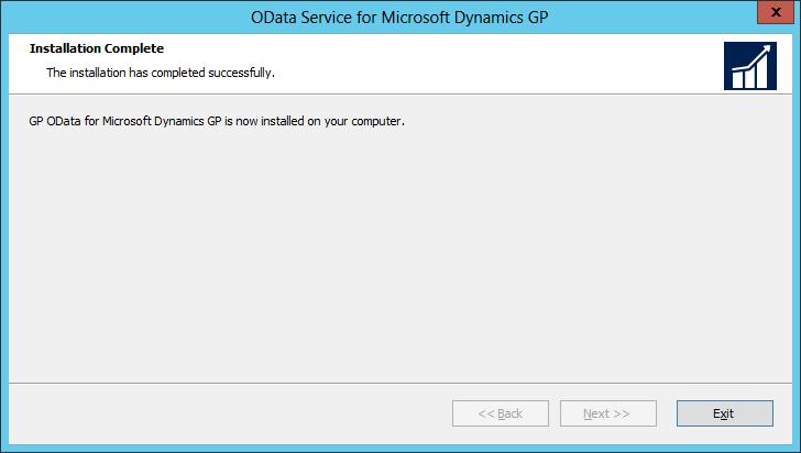 OData Service for Microsoft Dynamics GP: Installation Complete
