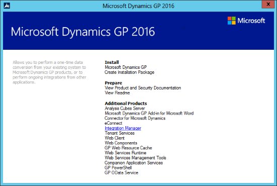 Integration Manager for Microsoft Dynamics GP 2016