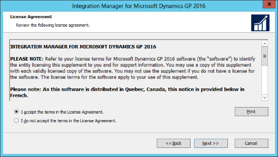 Integration Manager for Microsoft Dynamics GP 2016: License Agreement