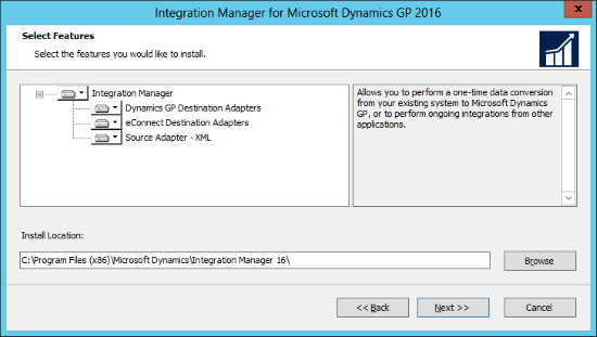 Integration Manager for Microsoft Dynamics GP 2016: Select Features