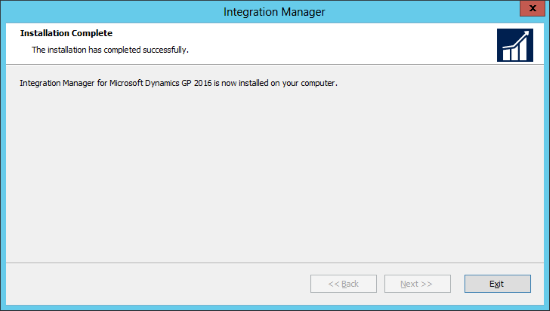 Integration Manager for Microsoft Dynamics GP 2016: Installtaion Complete