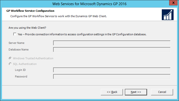 Web Services for Microsoft Dynamics GP 2016: GP Workflow Service Configuration
