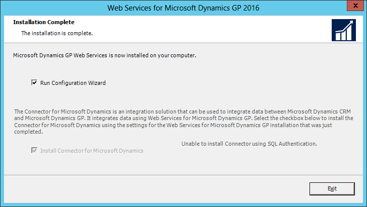 Web Services for Microsoft Dynamics GP 2016: Installation Complete