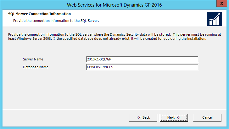 Web Services for Microsoft Dynamics GP 2016: SQL Server Connection Information