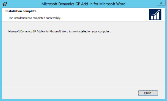 Microsoft Dynamics GP Add-in for Microsoft Word: Installation Complete