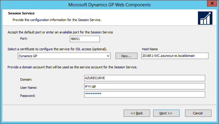 Microsoft Dynamics GP Web Components: Session Service