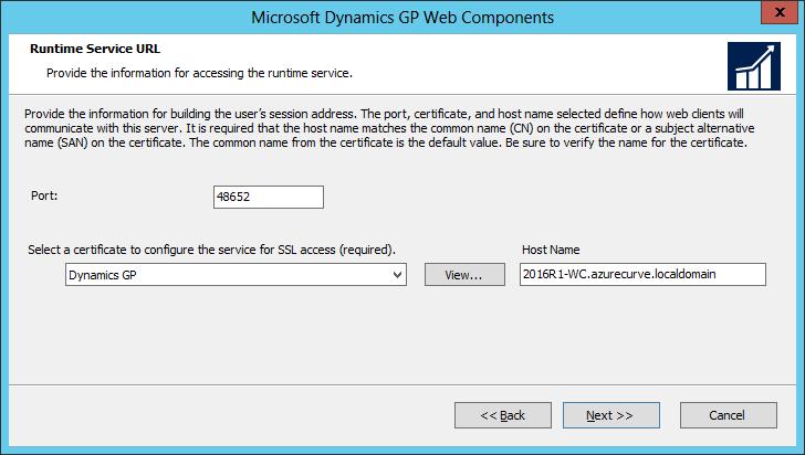 Microsoft Dynamics GP Web Components: Runtime Service URL