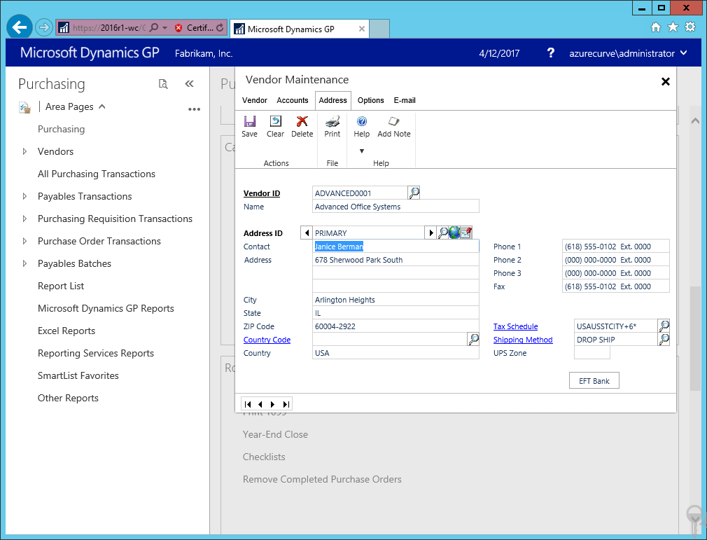Web Client: Vendor Maintenance - Address tab