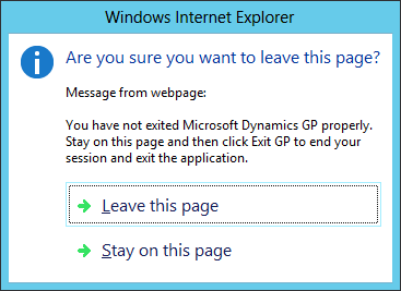 Web Client: Are you sure you want to leave this page?