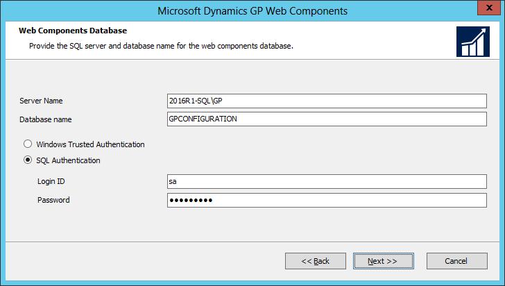Microsoft Dynamics GP Web Components: Web Componenets Database