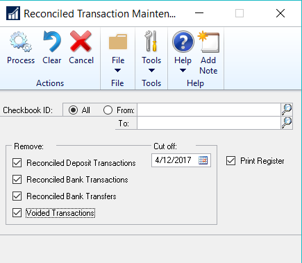 Reconciled Transaction Maintenance